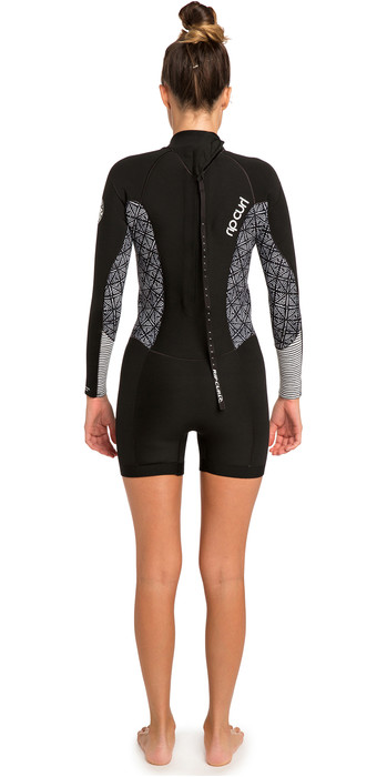 2019 Rip Curl Womens Dawn Patrol 2mm Long Sleeve Shorty Wetsuit Black WSP8GW